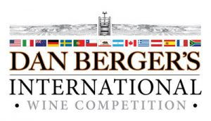 Dan Berger's International Wine Competition logo - black and white vineyards, wine press, and international flags